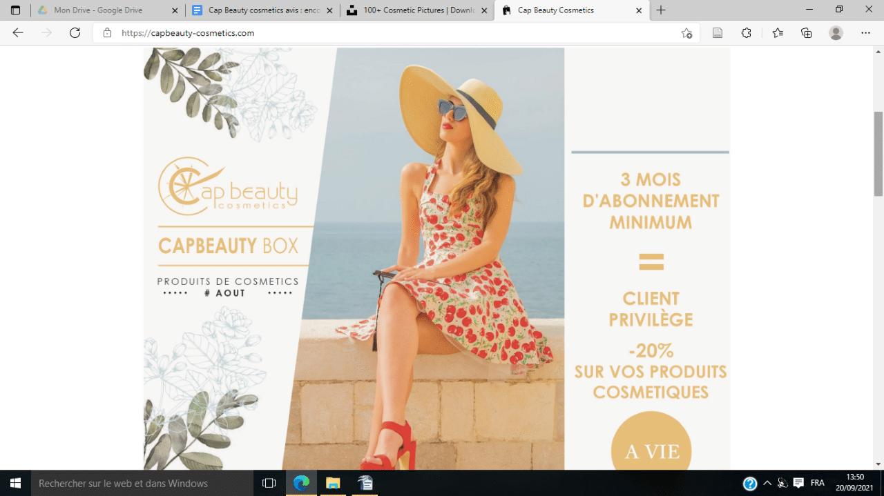 Capture d'écran site Cap Beauty Cosmetics